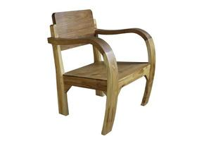 runder Holzstuhl auf weißem Hintergrund