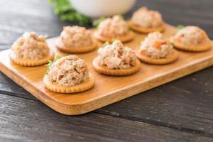 Thunfisch mit Cracker bestrichen