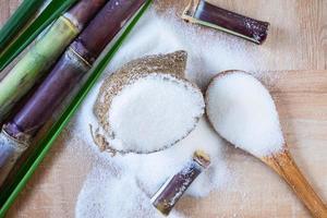 weißer Zucker und Zuckerrohr auf dem Tisch