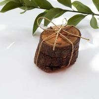 Holzscheiben mit einer Schnur gebunden