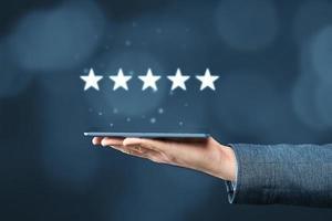Fünf-Sterne-Bewertungskonzept