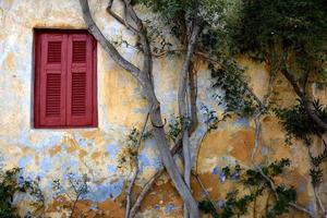 Athen, Griechenland, 2020 - rustikales Haus mit einem Baum bedeckt