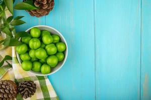 Draufsicht von sauren grünen Pflaumen und Tannenzapfen auf einem blauen Hintergrund