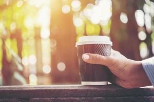 Hand, die eine Pappbecher Kaffee auf natürlichem Morgenhintergrund hält