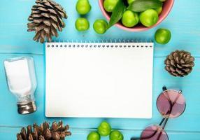 Draufsicht auf ein Skizzenbuch, umgeben von Früchten und Tannenzapfen