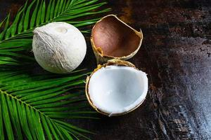 Kokosnüsse und Palmblätter
