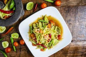 Draufsicht auf einen Salat und Salsa