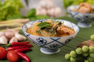 Hühnercurry mit Wachskürbissuppe