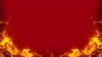 Feuerrahmen auf rotem Hintergrund foto
