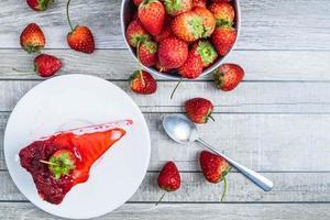 Draufsicht des Erdbeerkäsekuchens