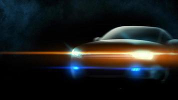 Auto mit Scheinwerfern an