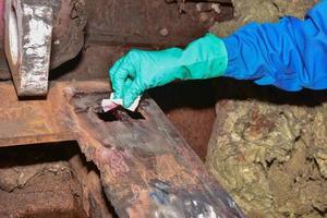 Arbeiter trägt Handschuhe und putzt