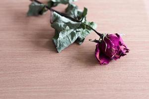 trockene Rosen auf einen Holztisch gelegt