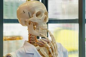 Skelett hält Kinn
