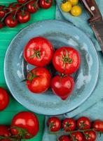 Draufsicht von Tomaten in Platte mit anderen und Messer auf grünem Hintergrund