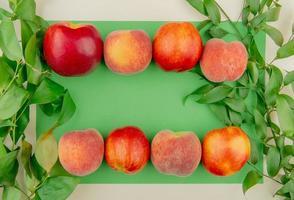 Draufsicht von Pfirsichen auf grünem und weißem Hintergrund, verziert mit Blättern foto