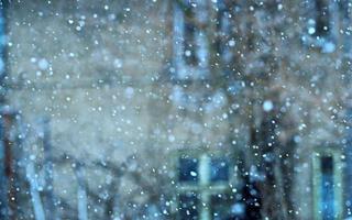 fallende Schneeflocken in einem städtischen Gebiet