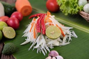 frische Zutaten für Papayasalat