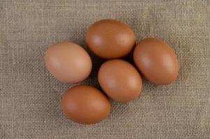 rohe Bio-Eier auf einem Hanfsack
