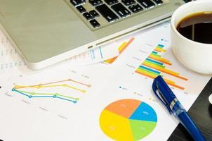 Geschäftsgraphen auf einem Schreibtisch