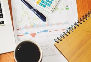 Schreibtisch mit Grafiken und Kaffee