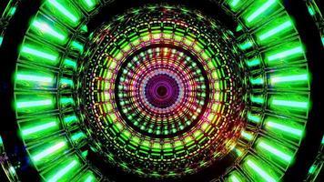 rotierendes Raumdesign mit leuchtenden Neonpartikeln 3d Illustration Hintergrund Tapeten-Design-Kunstwerk foto
