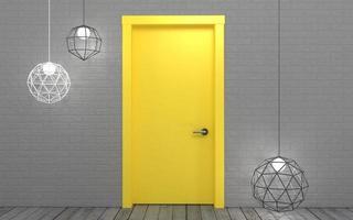 leuchtend gelbe Tür mit Pendelleuchte foto
