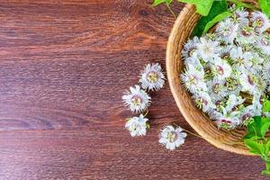 Blumen in einem Korb auf einem hölzernen Hintergrund foto
