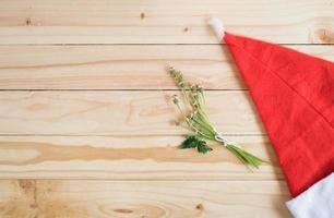 Weihnachtsmütze und Blumen
