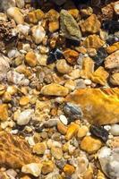 bunte Kieselsteine unter Wasser für Hintergrund foto
