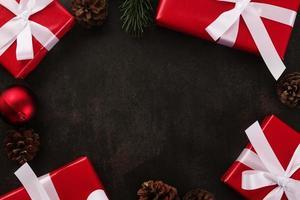 Draufsicht der Weihnachtsdekoration mit Kopienraum