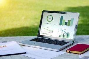 Laptop und Geschäftsdokumente draußen