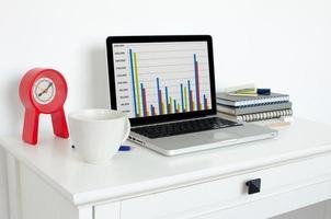 Laptop auf einem Schreibtisch foto