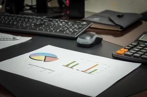 Tischplatte mit Papiergrafik und Tastatur