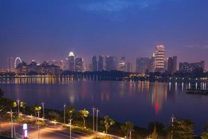 Singapur Waterfront in der Nacht