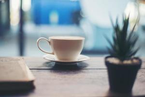 heißer frischer Kaffee mit kleiner grüner Kaktuspflanze foto