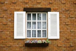 weiße Fensterläden und Blumen foto
