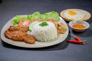 Schweinefleisch und Reis mit Ei
