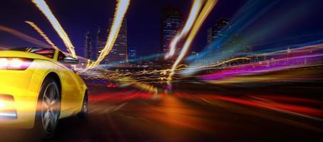 Stadtlichter und Sportwagen foto