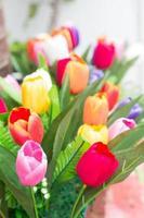bunter Strauß Tulpen foto