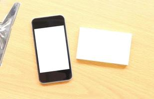 Visitenkarte und Telefonmodell foto