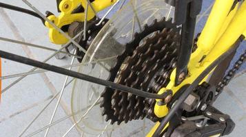 Nahaufnahme der Zahnräder eines Fahrrads