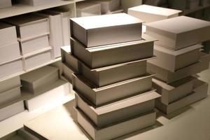 weiße Bücher auf Regalhintergrund