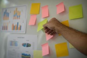Nahaufnahme der Hand, die Geschäftsdiagramm auf Whiteboard präsentiert