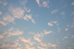 blauer Himmel und weiße Wolken vor Sonnenuntergang
