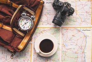 Draufsicht auf Reiseplanung foto