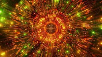 orange, grünes und gelbes Licht und Formen in der Kaleidoskop-3D-Illustration für Hintergrund oder Tapete foto