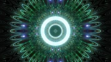 grünes, blaues und weißes Licht und Formen in der Kaleidoskop-3D-Illustration für Hintergrund oder Tapete foto