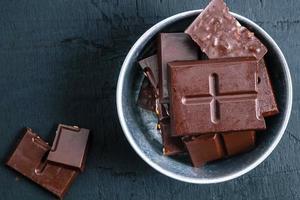 Draufsicht auf Schokolade foto