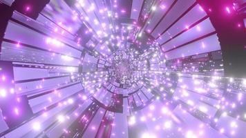 weiße, blaue und lila Lichter und Formen, die Hintergrundtapete der Tunnel-3D-Illustration bilden